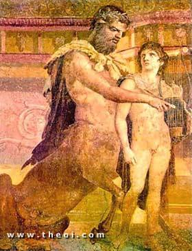 Chiron tutoring the boy Achilles | Roman fresco from Pompeii C1st A.D. | Archaeological Museum, Naples